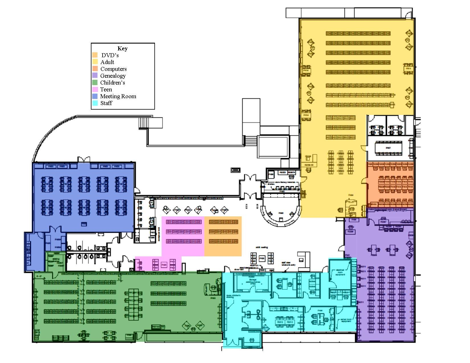 colorful library plan