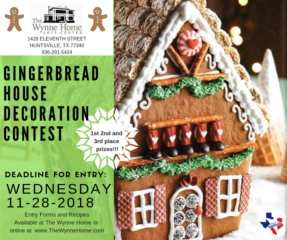Gingerbread House Decorating Contest is back. Entries are due at the Wynne Home Arts and Visitor Center, 1428 11th Street, by 6 p.m. Wednesday November 28. Entries will be accepted throughout the day