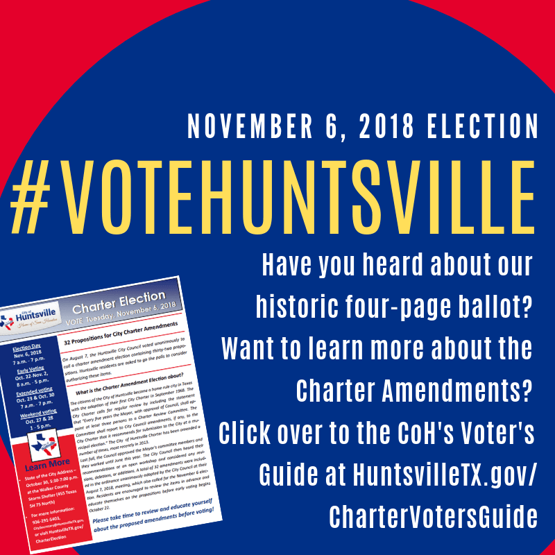 Sample ballots for all City of Huntsville election precincts for the November 6, 2018, election are now available at HuntsvilleTX.gov/Elections. Charter election info is at HuntsvilleTX.gov/CharterEle