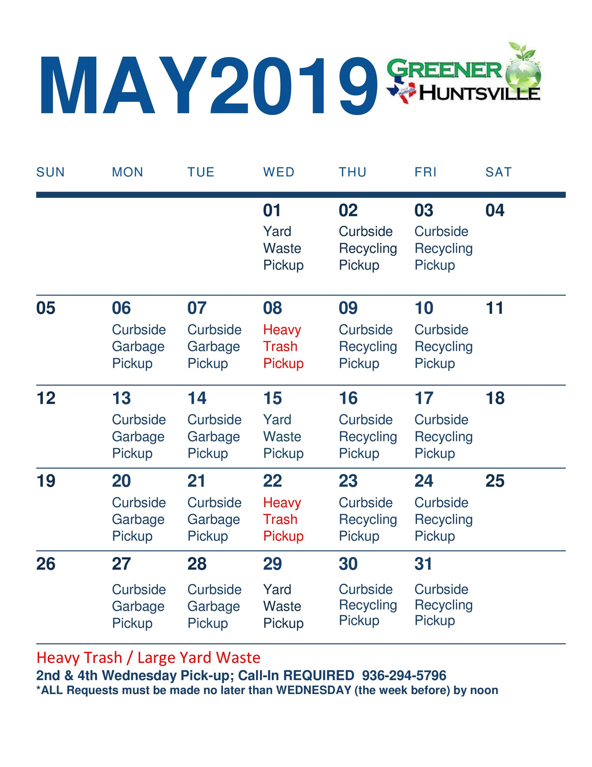 May 2019 Solid Waste Pickup schedule