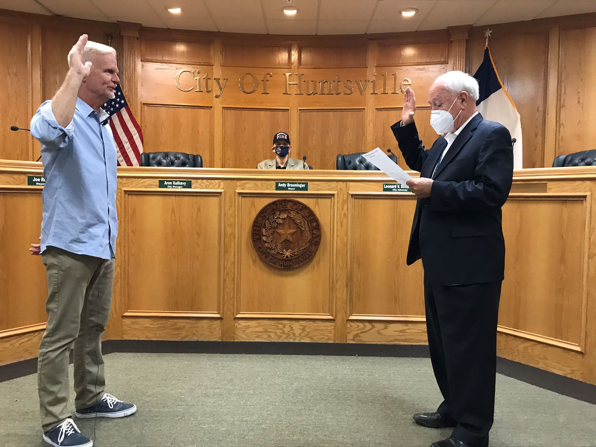 County Judge Danny Pierce swearing in Bert Lyle