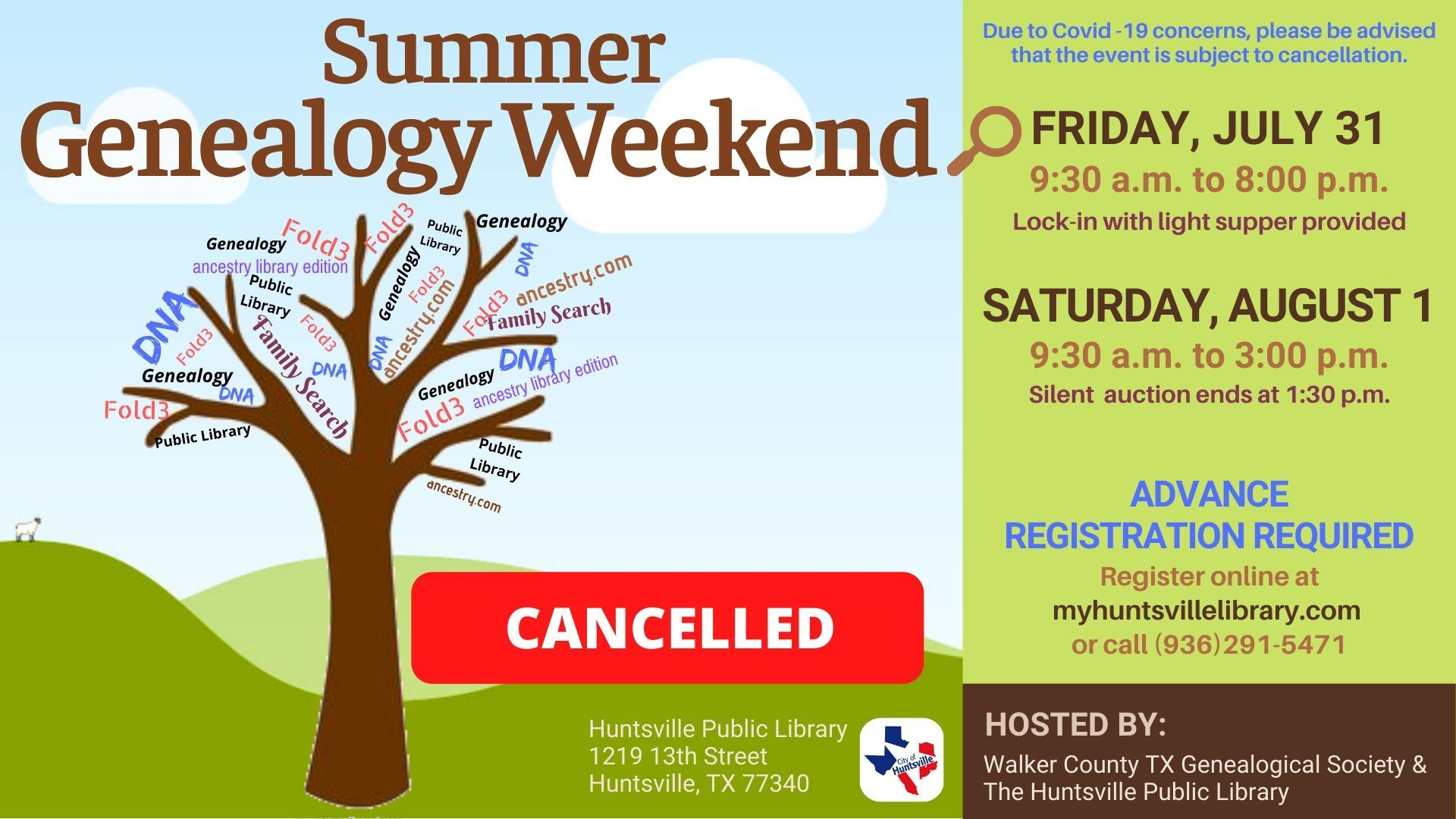 Genealogy Event Cancelled