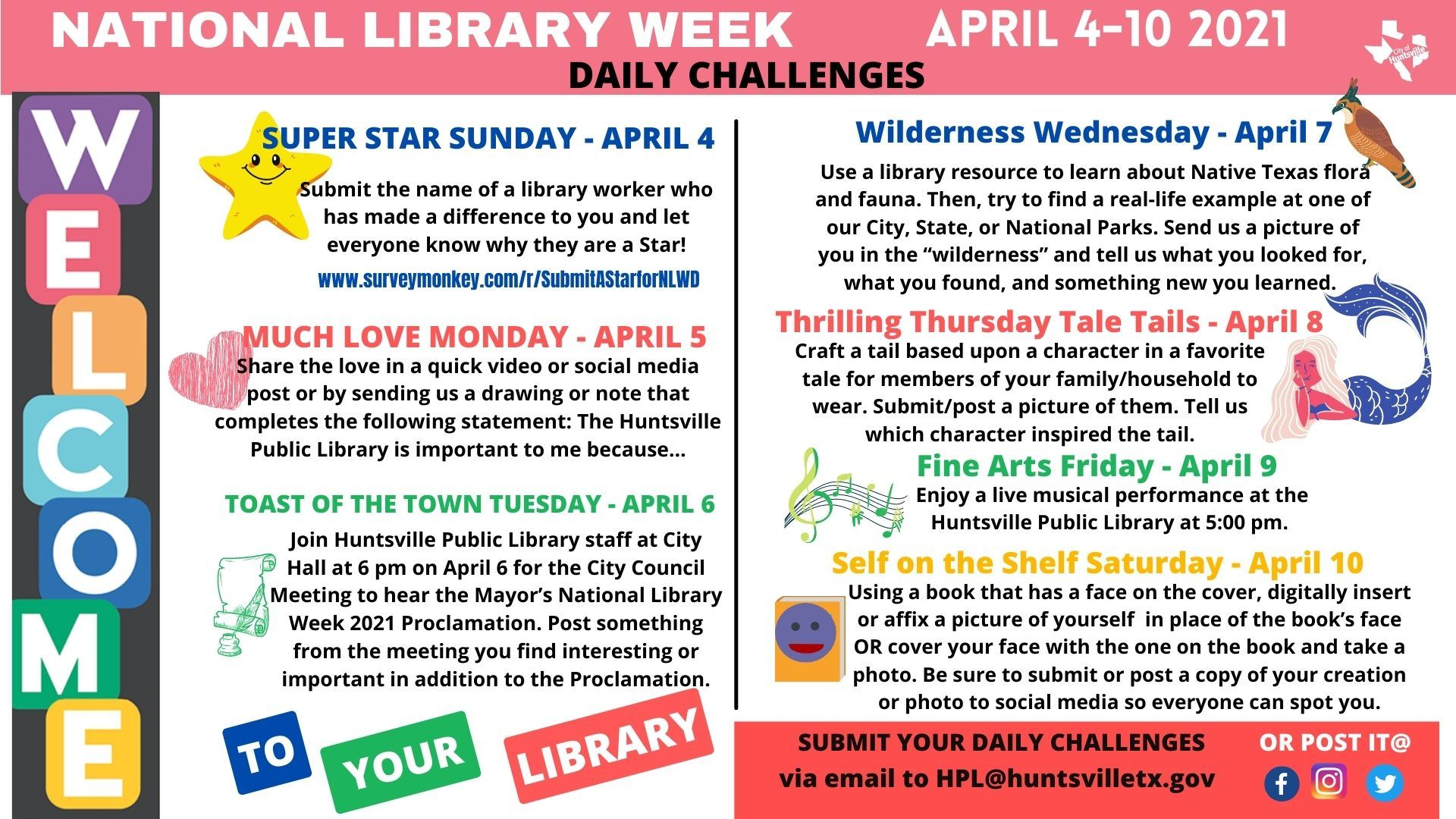 National Library Week Daily Challenges