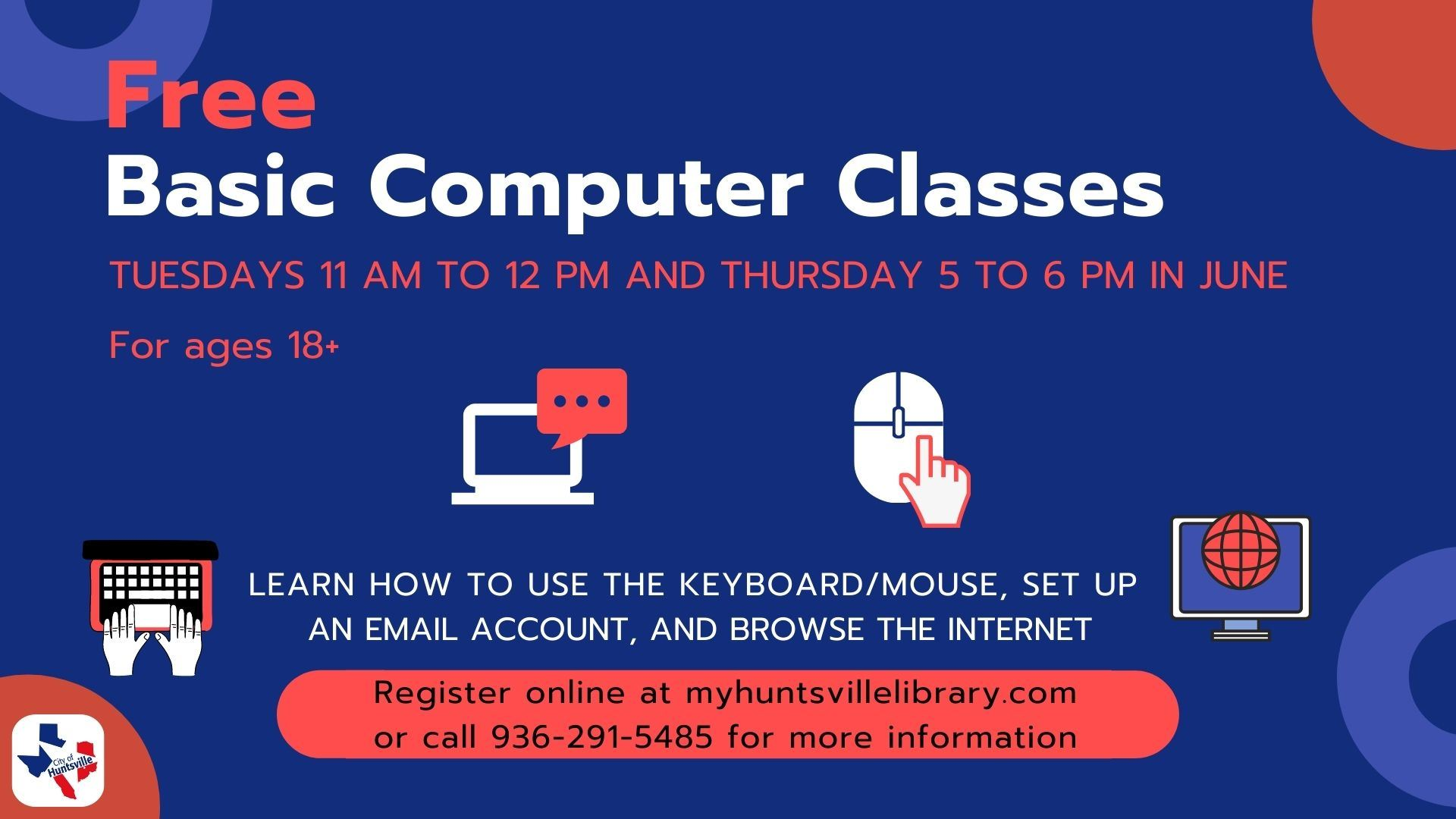 Free Basic Computer Classes June 2021