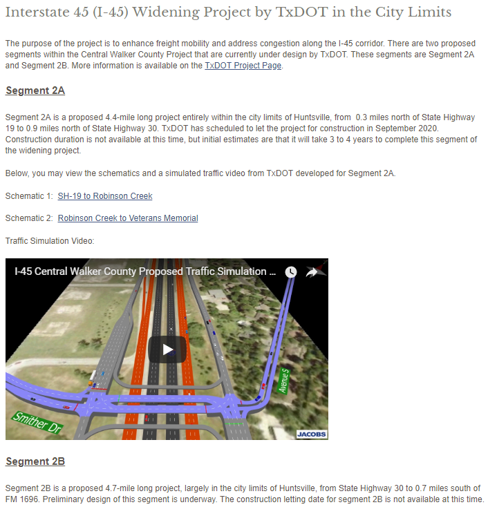 Interstate 45 (I-45) Widening Project by TxDOT in the City Limits _ Huntsville,
