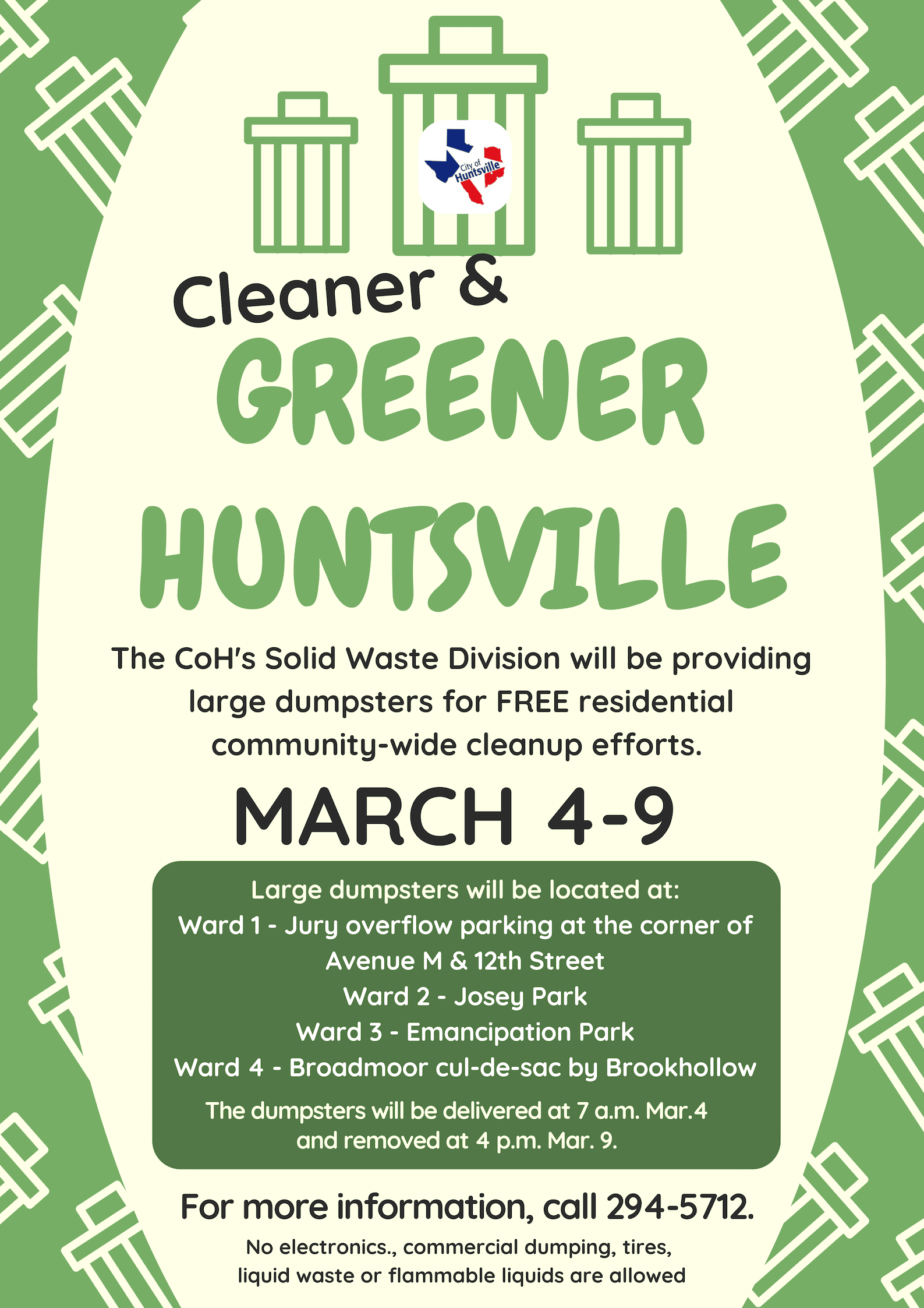 Cleaner Greener Huntsville March 4-9, 2019